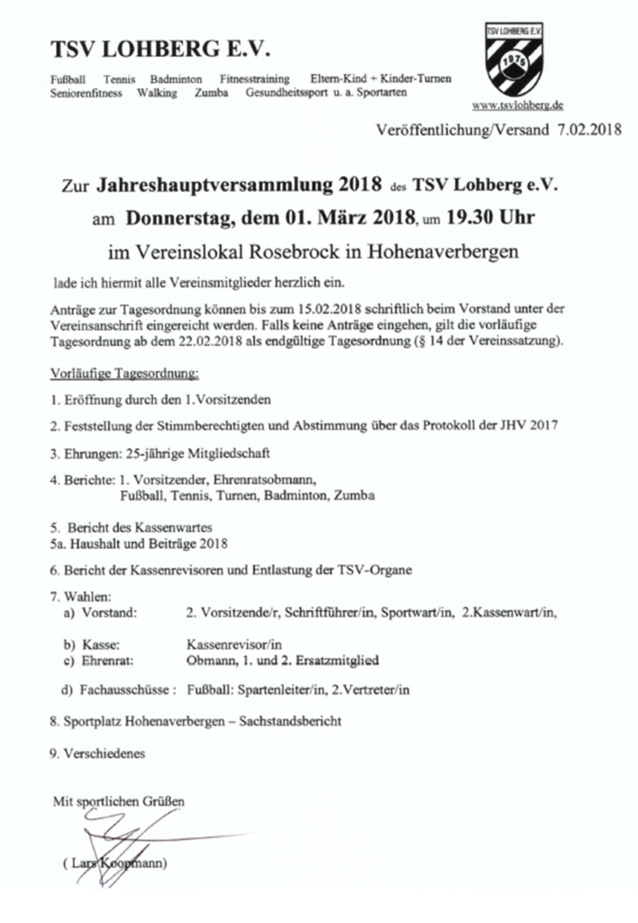 """Jahreshauptversammlung 2018 @ Gasthaus """"Zum Drommelbeck"""""""