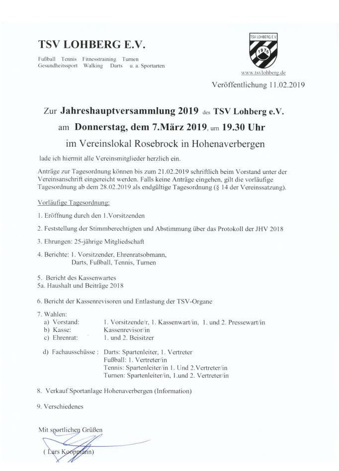 Jahreshauptversammlung 2019 @ Gasthaus Drommelbeck